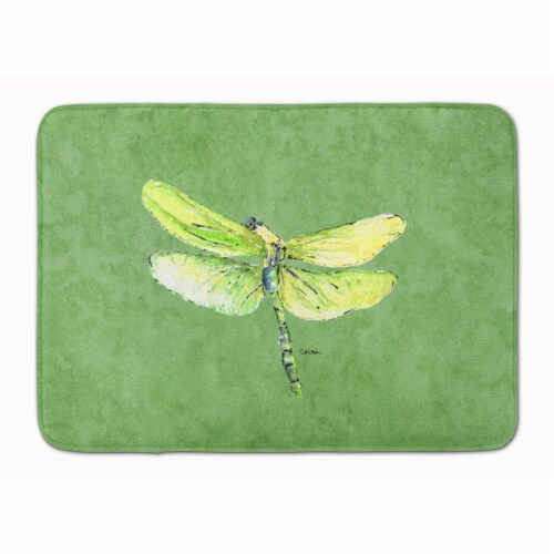 Dragonfly on Avacado Machine Washable Memory Foam Mat Perspective: front