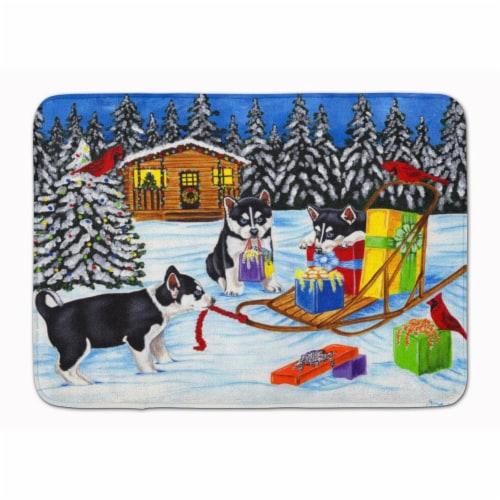 Christmas Mush Siberian Husky Machine Washable Memory Foam Mat Perspective: front