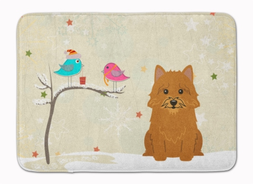 Christmas Presents between Friends Norwich Terrier Machine Washable Memory Foam Perspective: front