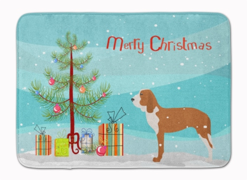Spanish Hound Merry Christmas Tree Machine Washable Memory Foam Mat Perspective: front