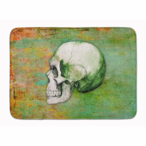 Day of the Dead Green Skull Machine Washable Memory Foam Mat Perspective: front