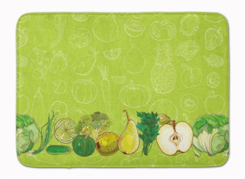 Fruits and Vegetables in Green Machine Washable Memory Foam Mat Perspective: front