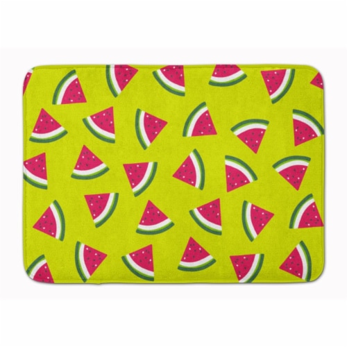 Watermelon on Lime Green Machine Washable Memory Foam Mat Perspective: front