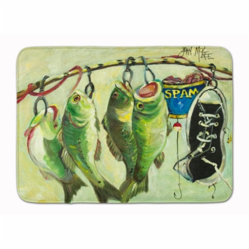 Recession Food Fish caught with Spam Machine Washable Memory Foam Mat Perspective: front