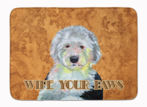 Old English Sheepdog Wipe your Paws Machine Washable Memory Foam Mat Perspective: front