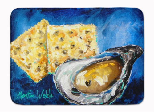Oysters Two Crackers Machine Washable Memory Foam Mat Perspective: front