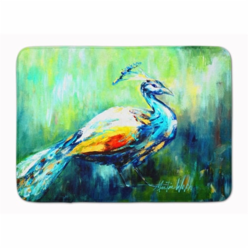 Proud Peacock Green Machine Washable Memory Foam Mat Perspective: front