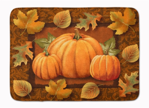 Pumpkins and Fall Leaves Machine Washable Memory Foam Mat Perspective: front