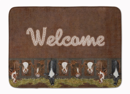Welcome Mat with Cows Machine Washable Memory Foam Mat Perspective: front