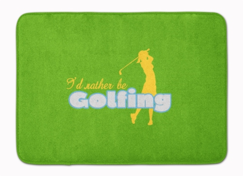I'd rather be Golfing Woman on Green Machine Washable Memory Foam Mat Perspective: front