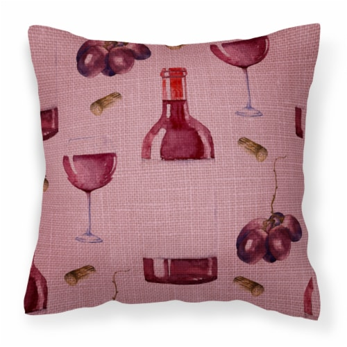 Carolines Treasures  BB5195PW1818 Red Wine on Linen Fabric Decorative Pillow Perspective: front