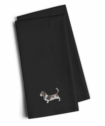 Basset Hound Black Embroidered Kitchen Towel Set of 2 Perspective: front