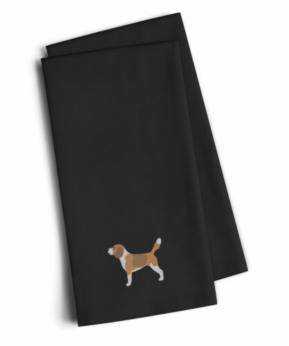 Carolines Treasures  BB3410BKTWE Beagle Black Embroidered Kitchen Towel Set of 2 Perspective: front