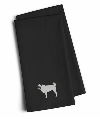 Carolines Treasures  BB3447BKTWE Pug Black Embroidered Kitchen Towel Set of 2 Perspective: front