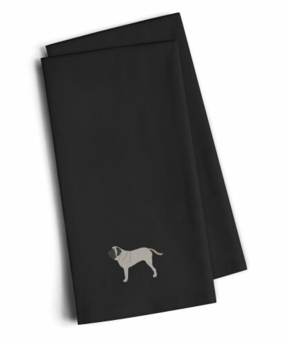 English Mastiff Black Embroidered Kitchen Towel Set of 2 Perspective: front
