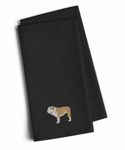 English Bulldog Black Embroidered Kitchen Towel Set of 2 Perspective: front