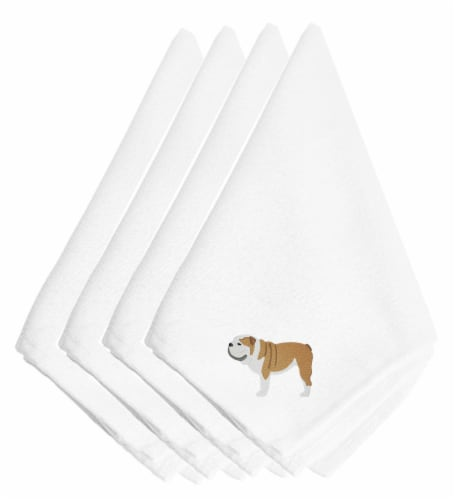 Carolines Treasures  BB3462NPKE English Bulldog Embroidered Napkins Set of 4 Perspective: front