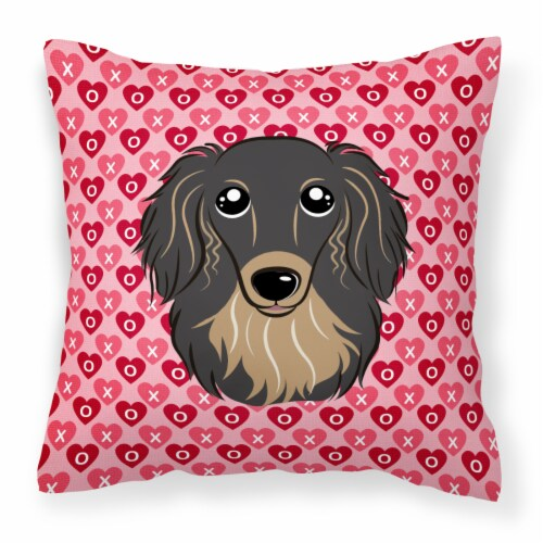 Longhair Black and Tan Dachshund Hearts Fabric Decorative Pillow Perspective: front
