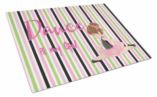 Ballet Dance is my Life Brunette Glass Cutting Board Large Perspective: front