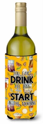 Start Drinking in the Morning Wine Bottle Beverge Insulator Hugger Perspective: front