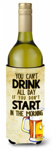 Start Drinking in the Morning Beer Wine Bottle Beverge Insulator Hugger Perspective: front