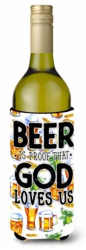 Beer is Proof God Loves You Wine Bottle Beverge Insulator Hugger Perspective: front