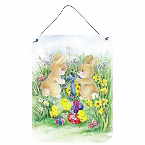 Brown Easter Bunnies with Eggs Wall or Door Hanging Prints Perspective: front