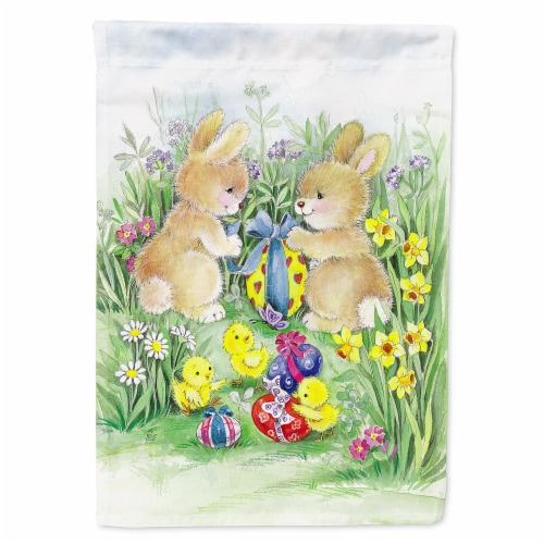 Carolines Treasures  APH0685GF Brown Easter Bunnies with Eggs Flag Garden Size Perspective: front