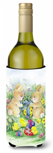 Brown Easter Bunnies with Eggs Wine Bottle Beverge Insulator Hugger Perspective: front