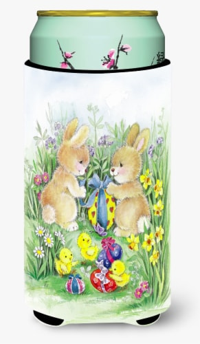 Brown Easter Bunnies with Eggs Tall Boy Beverage Insulator Hugger Perspective: front