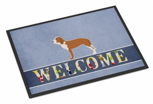 Carolines Treasures  BB5495MAT Spanish Hound Welcome Indoor or Outdoor Mat 18x27 Perspective: front