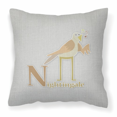 Alphabet N for Nightingale Fabric Decorative Pillow Perspective: front
