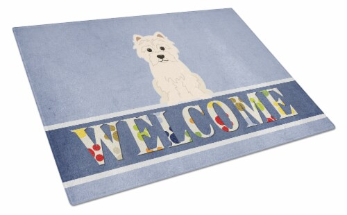 Carolines Treasures  BB5623LCB Westie Welcome Glass Cutting Board Large Perspective: front