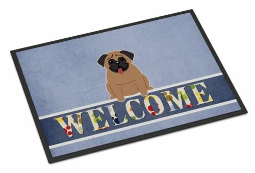 Carolines Treasures  BB5586MAT Pug Brown Welcome Indoor or Outdoor Mat 18x27 Perspective: front