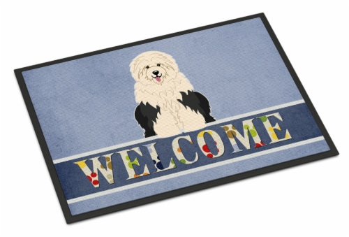 Old English Sheepdog Welcome Indoor or Outdoor Mat 18x27 Perspective: front