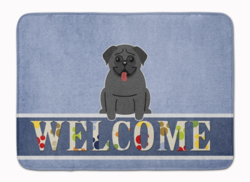 Pug Black Welcome Machine Washable Memory Foam Mat Perspective: front