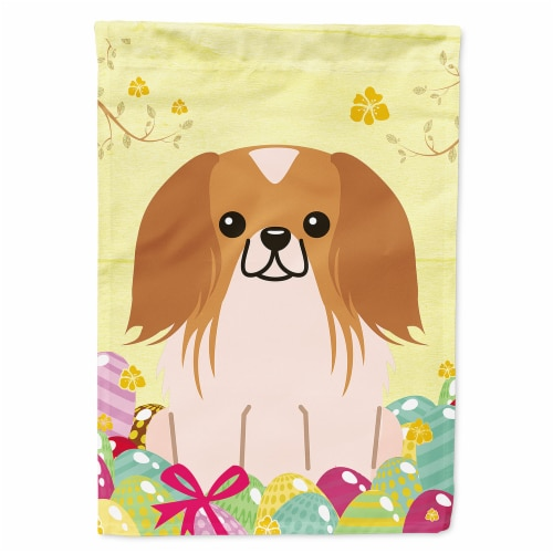 Easter Eggs Pekingnese Red White Flag Canvas House Size Perspective: front
