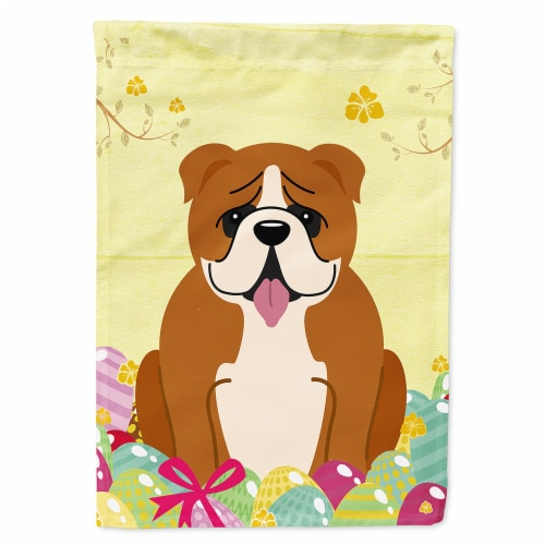 Easter Eggs English Bulldog Red White Flag Canvas House Size Perspective: front