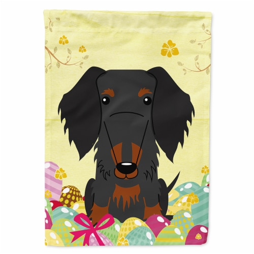Easter Eggs Wire Haired Dachshund Black Tan Flag Canvas House Size Perspective: front