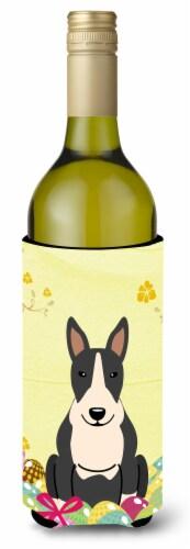 Easter Eggs Bull Terrier Black White Wine Bottle Beverge Insulator Hugger Perspective: front