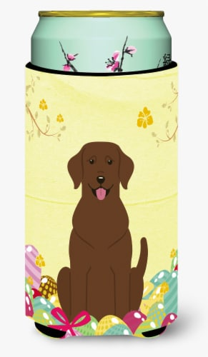 Easter Eggs Chocolate Labrador Tall Boy Beverage Insulator Hugger Perspective: front