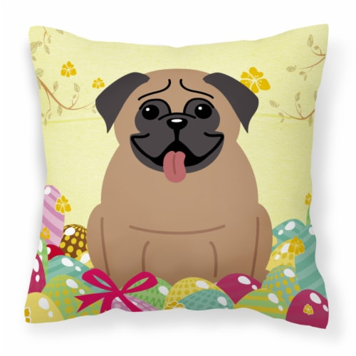 Carolines Treasures  BB6005PW1414 Easter Eggs Pug Brown Fabric Decorative Pillow Perspective: front