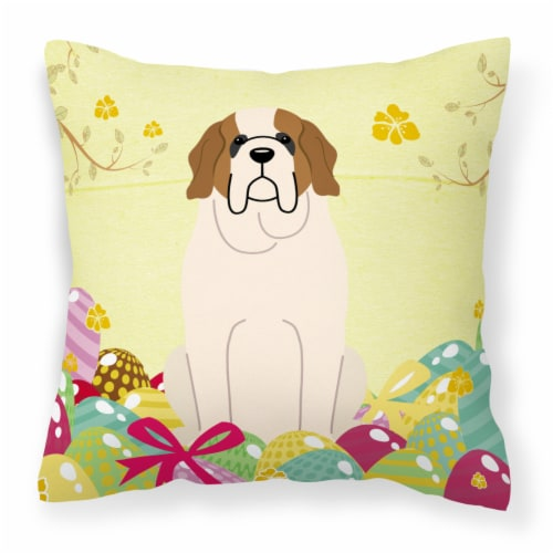 Easter Eggs Saint Bernard Fabric Decorative Pillow Perspective: front