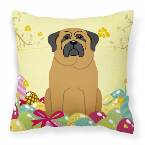 Carolines Treasures  BB6018PW1818 Easter Eggs Mastiff Fabric Decorative Pillow Perspective: front