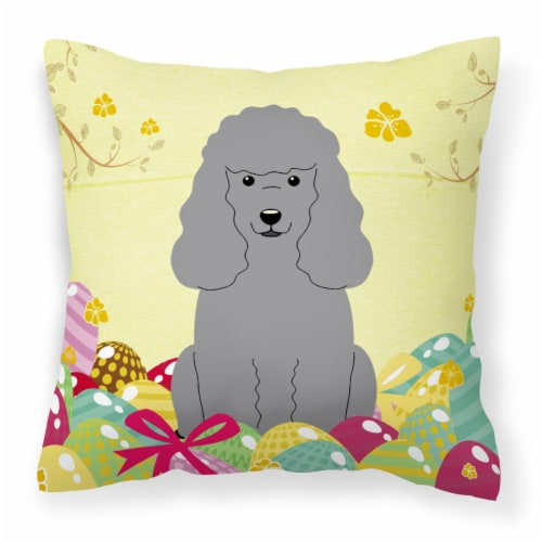 Easter Eggs Poodle Silver Fabric Decorative Pillow Perspective: front