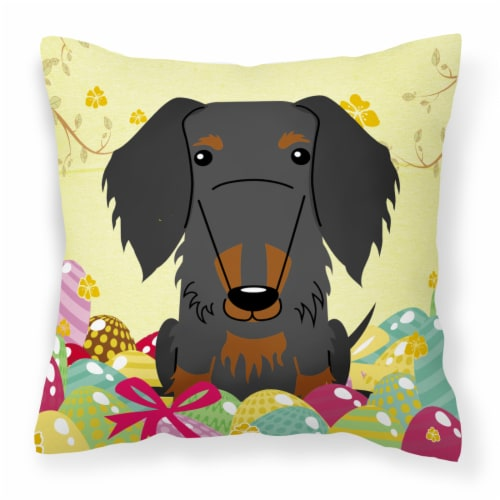 Easter Eggs Wire Haired Dachshund Black Tan Fabric Decorative Pillow Perspective: front
