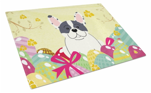 Easter Eggs French Bulldog Piebald Glass Cutting Board Large Perspective: front
