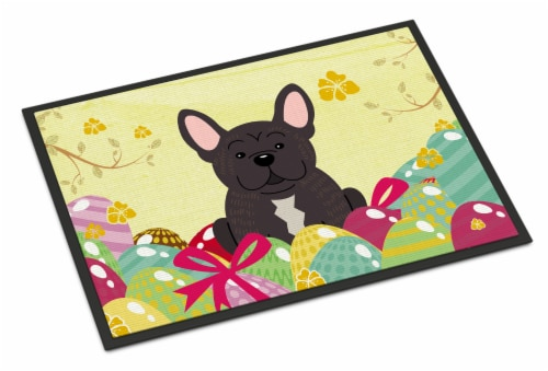 Easter Eggs French Bulldog Brindle Indoor or Outdoor Mat 18x27 Perspective: front