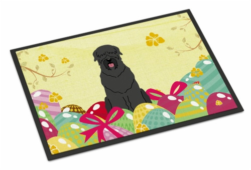 Easter Eggs Black Russian Terrier Indoor or Outdoor Mat 18x27 Perspective: front