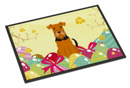 Carolines Treasures  BB6041MAT Easter Eggs Airedale Indoor or Outdoor Mat 18x27 Perspective: front